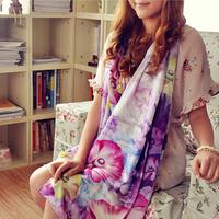 Free Shipping parent flower digital women's mulberry silk pure silk long silk scarf flower