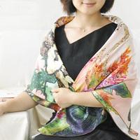 Free Shipping digital handmade roll-up hem scarf mulberry silk pure silk women's large facecloth silk scarf lady map