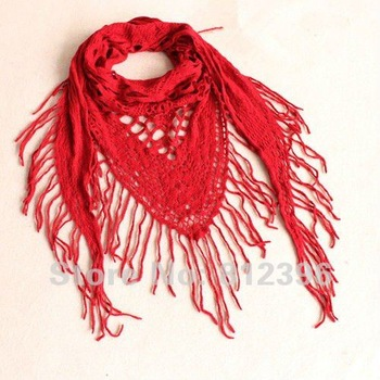 Autumn  winter fashion Red  Women's tassel triangular bandage shawl wool scarf  5Pcs/lot  free shipping