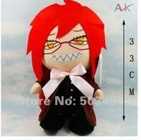 "Free shipping Black Butler Kuroshitsuji 14"" Grell Sutcliff Cosplay Plush Stuffed Toy"