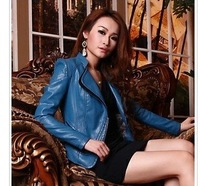 free shipping spring and autumn New arrival women casual faux leather jacket/outwear fashion design lady long adjsut sleeve.Y098