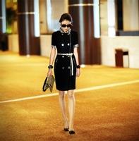 PLUS SIZE black EUR belt  Short sleeve Office business formal pencile black dress double breasted slim work wear one-piece dress