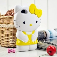 Free Shipping Cute Cartoon 3D Bowknot Hello Kitty Hard Case Cover For iPhone 4G 4S with Retail Package!