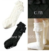 2014 new free shipping Baby Toddler Girl White Black Argyle Princess Lace Knee Socks 1-3T 3T-5T