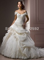 Elegant Off The Shoulder Taffeta Ball Gown Strapless Lace Bridal Dress With Appliques Custom Size/Color Wholesale/Retail
