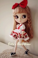 Blythe Doll Clothes Cute Fresh Strawberry Ruffles Dress Handmade (Dress and Bowknot Headwear) Free Shipping
