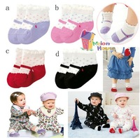 Free Shipping Wholesale 8pair/lot Kid Girls Toddler Lovely Anti-slip Non-slip Cotton Ankle Mary Jane Socks 2 sizes 4 pair/set