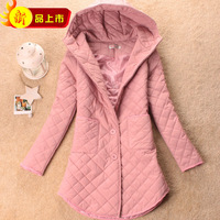 Free Shipping Thin women's cotton-padded jacket plus size hooded medium-long cotton clothes outerwear