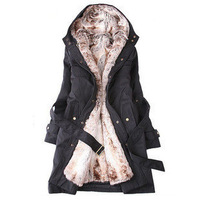 Holiday Sale 2013 Faux fur lining women's winter warm long fur coat jacket clothes wholesale Free Shipping