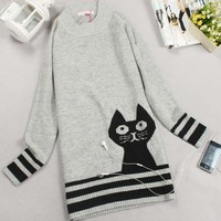 sweet cat knitwear lady's sweater winter coat leisure wear Free Shipping JY430996