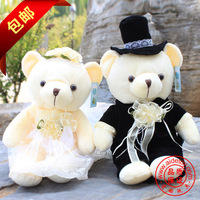 Retail a pair of bear doll fashion wedding married toy lovers plush animals, 2pcs