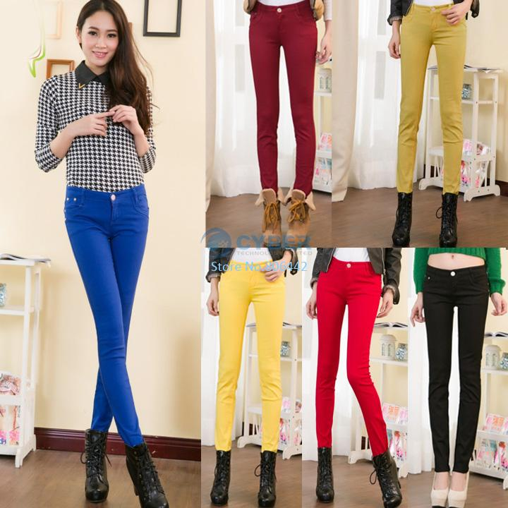 2012 Lady's Pencil Pant Hottest Slim Fit Skinny Stretch Jeans Trousers 6Colors 4Sizes Hot Free Shipping(China (Mainland))