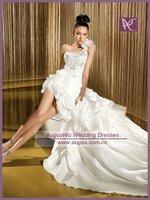 AWB1159 Fabulous Beaded Corset One Shoulder Front Short And Long Back Wedding Dress