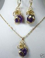 New Fashion Hot Beautiful Woman's Pearl Jewelery Set Natural purple jade dragon Pendant necklace earring  free shipping
