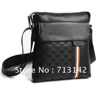 Men bag, 2013 Best Selling Men's Leather Bag, Composite Cowhide, Men Shoulder Bag, Black/Brown, vertical style, LS10-7.
