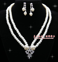 The bride accessories married rhinestone double layer pearl necklace pendant female xzz09