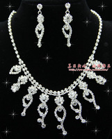 The bride accessories rhinestone married necklace piece set bridal accessories 011