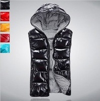 New Arrival Winter sleeveless women's Hooded shiny vest jacket outfits lady fashion down-padded casual zipper waistcoat