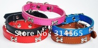 Wholesale Size M-XL Pet Product / Neck Collar /Dog Bone PU Collar  20PCS/LOT