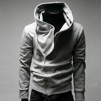 2013 autumn and winter outerwear male localize casual with a hood sweatshirt slim black cardigan hoodie