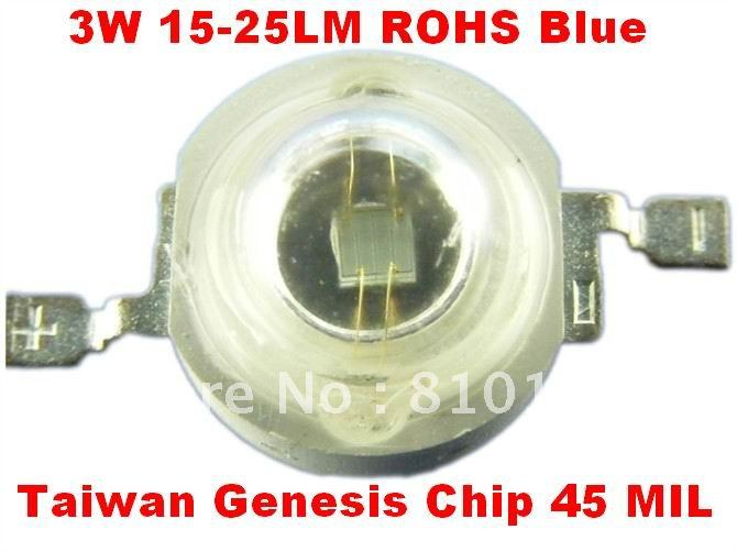 2000pcs/lot DHL FREE 3W LED Module ,LED light, 15-25LM Light source,Taiwan Genesis Chip 45 MIL,Blue.(China (Mainland))