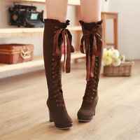 Sexy Winter Boots Womans Ribbon Lace Up Bow Platform Pumps Chunky High Heels Knee High Boots
