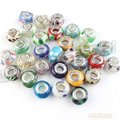 90pcs/lot Wholesale Assorted Round Colorful Lampwork Glass Beads Big Hole Charms Fit European Beading Bracelet Making 152105