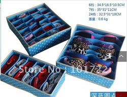FREE SHIPMENT,folderable blue dots non-woven costmetic storage case ,bins,storage box,three pcs per set(China (Mainland))