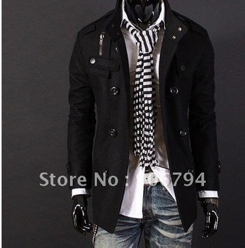 Free Shipping   Hot Men's Jackets Double Platoon To Buckle LiLing Badges Dust Coat Male Coat Color:Black,Gray Size:M-L-XL-XXL
