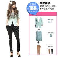 Beautiful three quarter sleeve blazer chiffon sweater casual pants triangle set