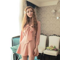 Beautiful 2012 autumn long-sleeve vintage gentlewomen front fly bow skirt slim waist one-piece dress 7430