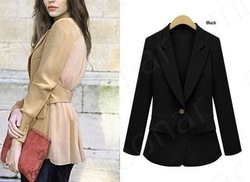 2013 NEW Spring OL Ladies&#39; Womens Western-style clothes Tops Coat Causal Jackets, Slim Overcoat with turn-down collar E0864(China (Mainland))