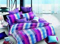 hot sale bright Purple Blue lattice checker pattern 4pcs Full/Queen bed in a bag sets cotton duvet quilt covers home textile