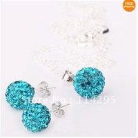 Shining 925 Silver Chain Shamballa Jewelry Set 10mm CZ Disco Pave Beads Pendant Necklaces Dazzling Stud Earrings