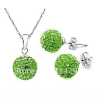 Green Shamballa Jewelry Set Shining Stud Earrings 10mm CZ Disco Pave Ball Pendant Necklaces  Fashion 925 Silver Chain Mix Color