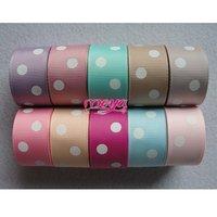 "Free shipping 7/8""(22MM) 100 yards mixed 10 colors two dots printed grosgrain ribbon, ribbon for hair bows"