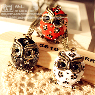 Min. Order 10$ +Mix Order-N4063 fashion accessories vintage cutout oil owl long design necklace 5.3(China (Mainland))
