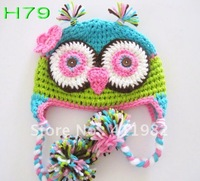 free shipping,10pcs/lot OWL crochet baby hat children 100% cotton handmade hat Stripes Beanie with ear ANIMAL knitted HAT monkey