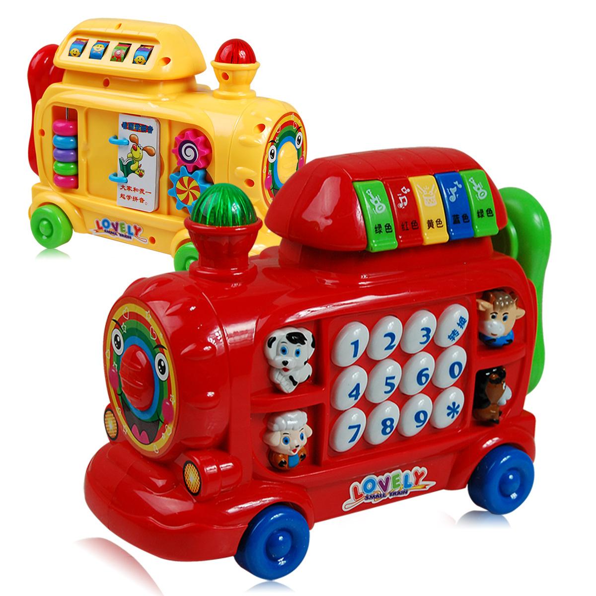 Yakuchinone music train cartoon telephone toy car multifunctional car phone music toy(China (Mainland))