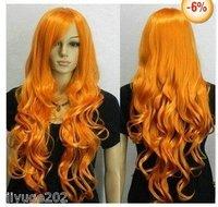 2012 New Yellow Long Wavy women Cosplay Wig + wig cap