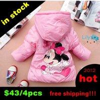 Sale kids clothing Minne mouse Winter Jacket 4pcs/lot Children clothing Kids clothes Coat