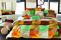 brand new green orange mordern geometric pattern reactive sanding 4pcs Queen/Full comforter/quilt/duvet covers sets