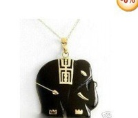 Elegant Black Jade Elephant Necklace Pendent