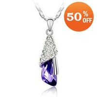 Holiday sale 5 colors Min order $10 white gold plated purple pendant crystal Necklace  jewelry make with swarovski elements k087