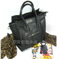 Fashion star black cowhide genuine leather bag smiley large bag  with genuine leather for free shipment