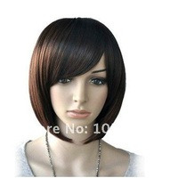 Free shipping Lady's Fashion Cheap Synthetic Hair Lace Full Short Bob Wig Cospaly Consume Wigs For Black African American Women