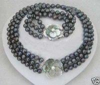 New Fashion Hot Beautiful Woman's Pearl Jewelery Set 3 row 7-8MM black pearl necklace bracelet Sets
