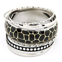 Min Order $10 Fashion star multi-layer leopard print bangle vintage multi-layer bracelet vintage
