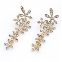 Min Order $10 Elegant luxury stud earring sparkling full rhinestone flower earrings shining connected earring