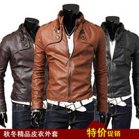 2013 spring and autumn men&#39;s clothing male slim oblique zipper motorcycle leather clothing outerwear male short design leather